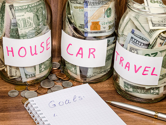 house, car, travel savings jars