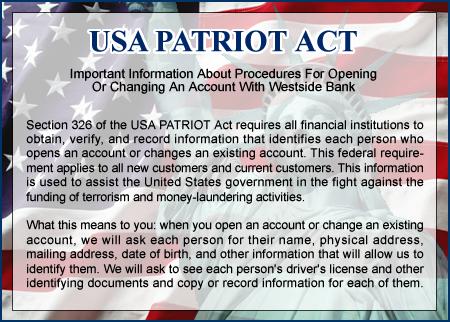 USA Patriot Act › Westside Bank